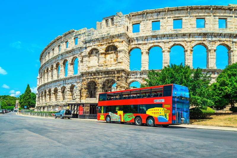 Fantastyczny antyczny Romański amphitheatre w Pula, Istria region, Chorwacja, Europa fotografia royalty free