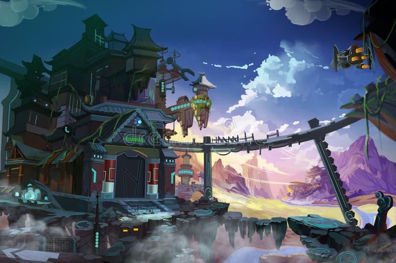 Fantastyczny Chiny Wyobraźnia Łącząca z Futurystycznym i Dziejowym Oba royalty ilustracja