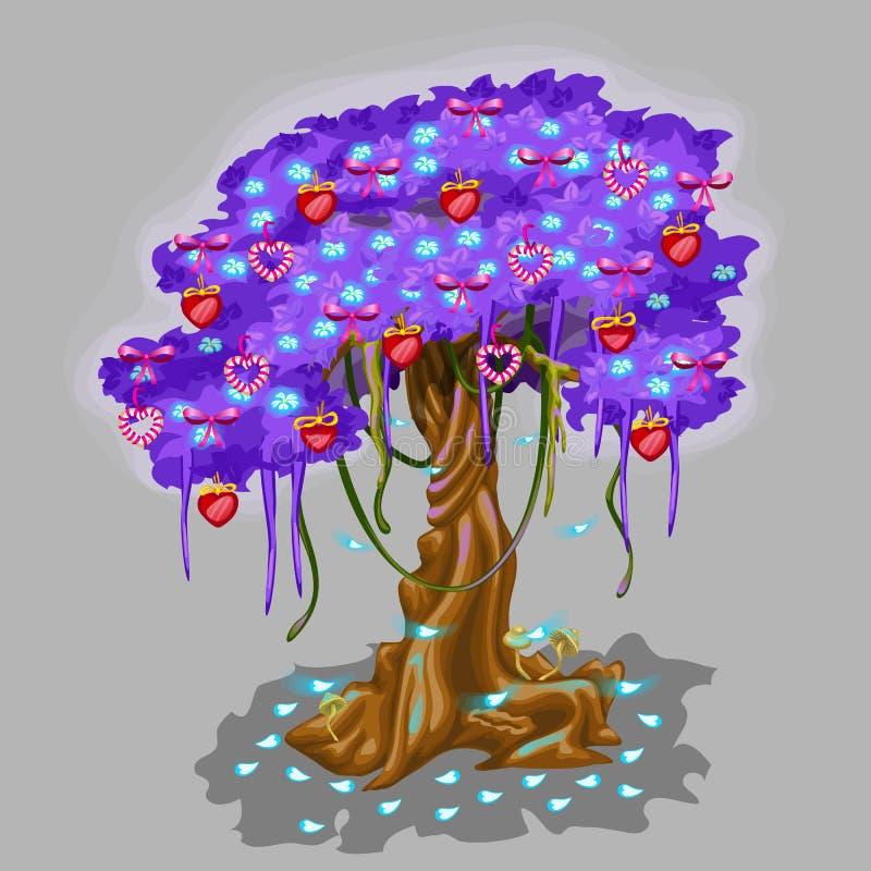 Fantastyczny drzewo z truskawki i serca zabawką ilustracja wektor