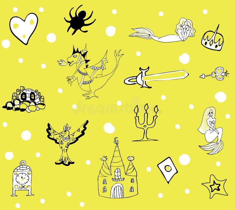 Fantastyczny dziecka ` s wzór z feniksem, smokiem, kasztelem i syrenkami w delikatnych brzmieniach, czarnych i zielonych ilustracji