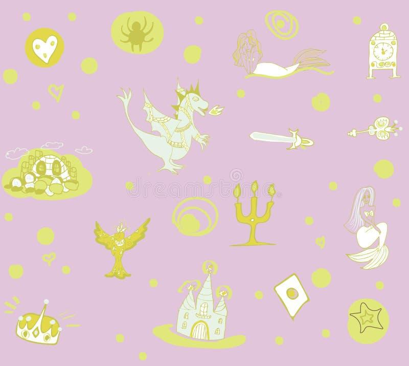 Fantastyczny dziecka ` s wzór z feniksem, smokiem, kasztelem i syrenkami w, delikatnych purpurach i zieleni brzmieniach ilustracji