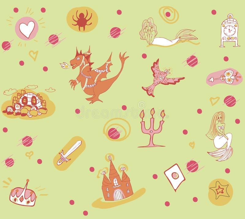 Fantastyczny dziecka ` s wzór z feniksem, smokiem, kasztelem i syrenkami w zielonych brzmieniach, ilustracja wektor