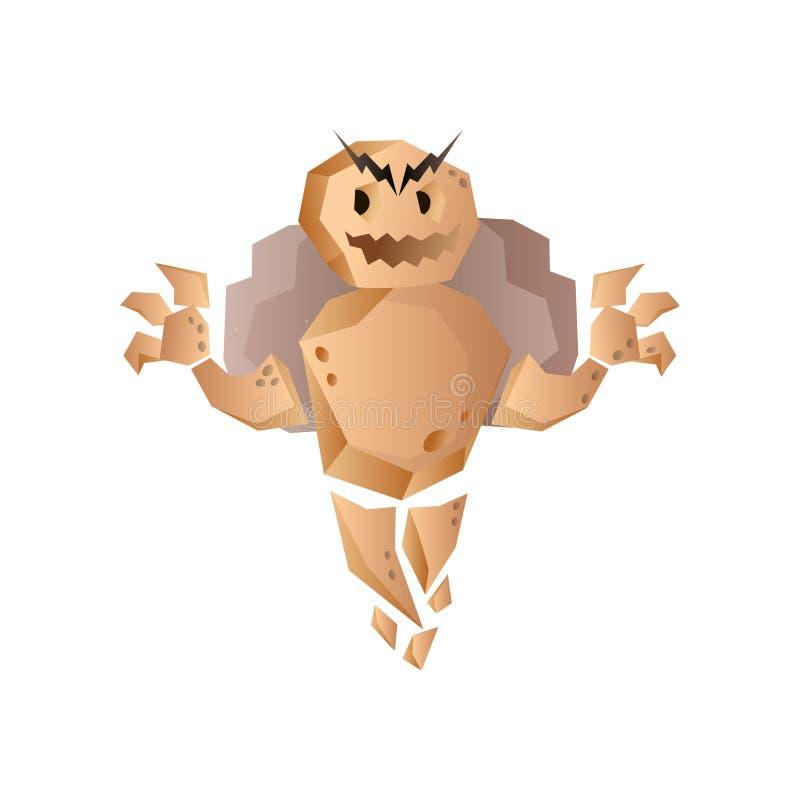 Fantastyczny golem kamienia potwór z skałą wręcza ładnego uśmiech ilustracja wektor