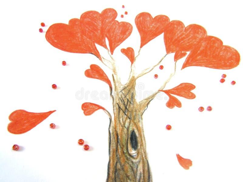 Fantastyczny miłości drzewo z jaskrawymi czerwonymi sercami zamiast liści, otaczających koralikami obrazy stock