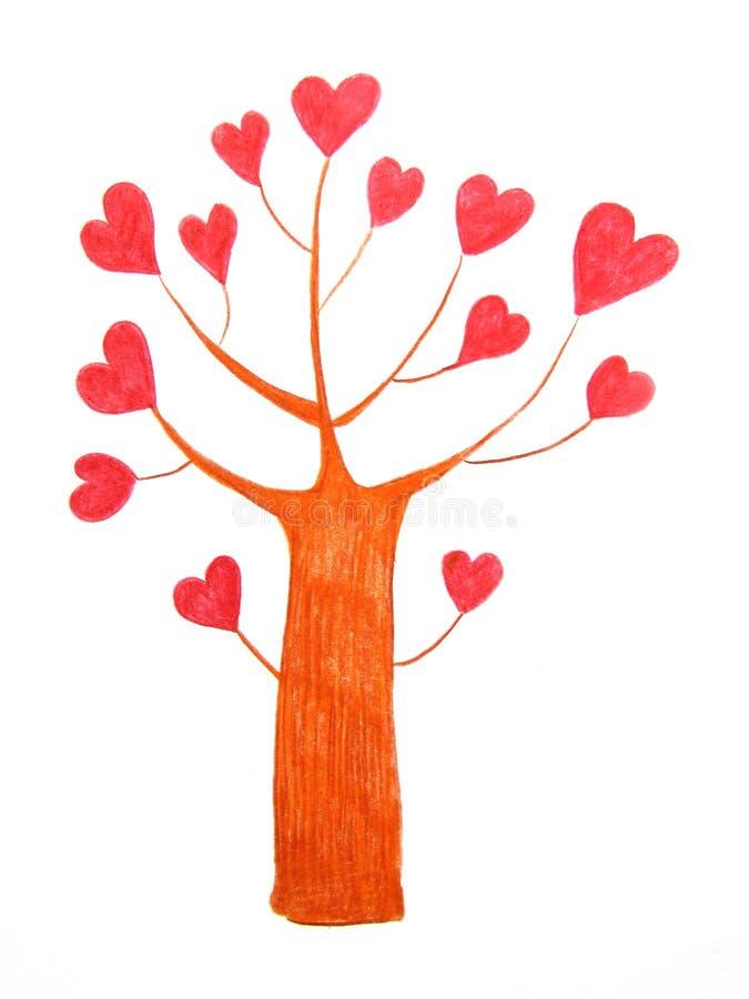 Fantastyczny miłości drzewo z jaskrawymi czerwonymi sercami zamiast liści rysujących z ołówkami ilustracji