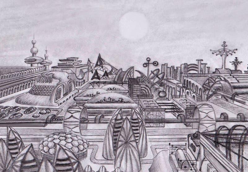 Fantastyczny miasto przyszłość Na obcej planecie ilustracja wektor