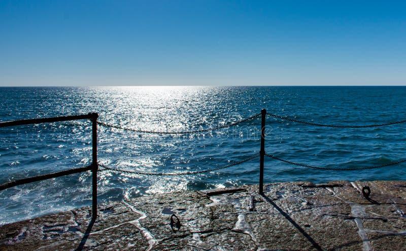 Fantastyczny seaview od quay w Porthleven, Cornwall, Anglia fotografia royalty free