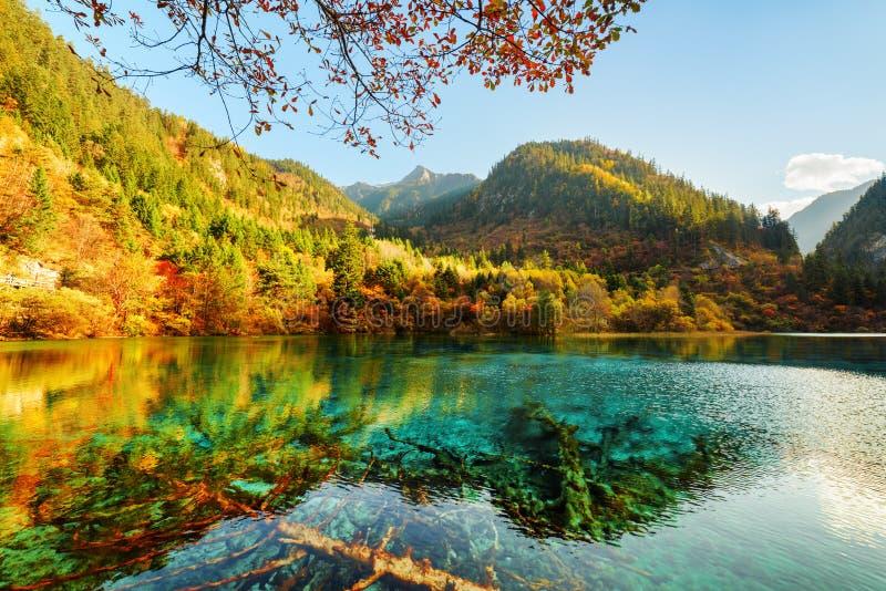 Fantastyczny widok Pięć Kwiat jezioro wśród pięknych gór obrazy royalty free