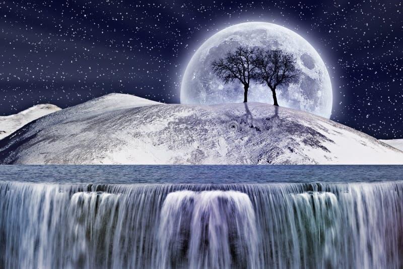 Fantastyczny zima blask księżyca ilustracja wektor