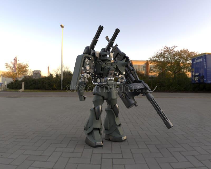 Fantastyka naukowa ch żołnierza pozycja na krajobrazowym tle Militarny futurystyczny robot z zieleni? i szaro?? barwimy metal Mec ilustracja wektor