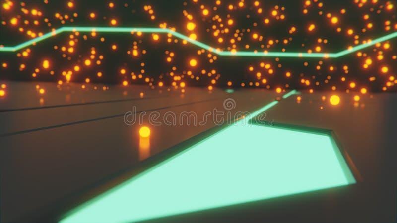 Fantastyka naukowa 3d rendering pojedynczy pomarańczowy rozjarzony ember na podłodze z futurystycznymi jarzy się projektami i roz royalty ilustracja