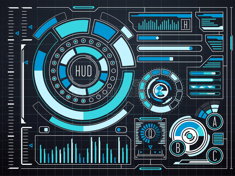 Fantastyka naukowa dotyka futurystyczny wirtualny graficzny interfejs użytkownika HUD ilustracji