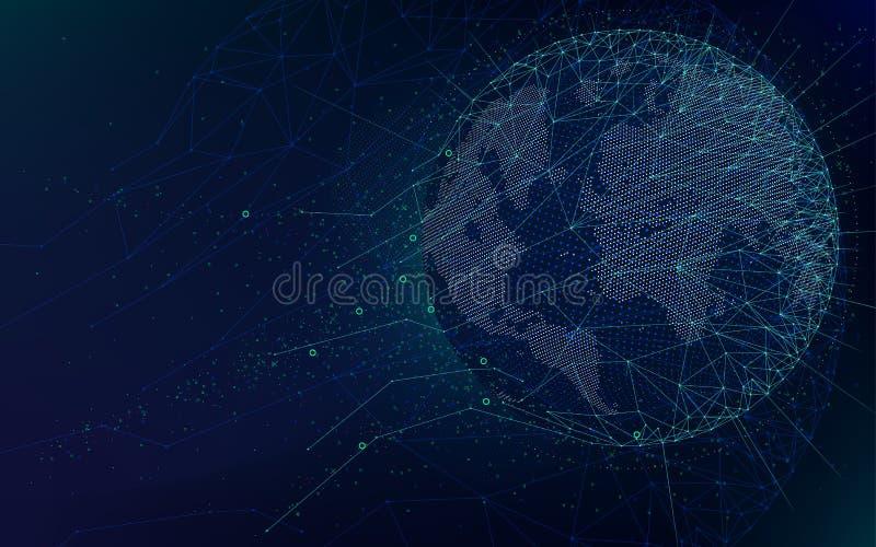 Fantastyka naukowa futurystyczne technologie, globalna sieć z światową mapą, abstrakcjonistyczny wektorowy nieskończonej przestrz royalty ilustracja
