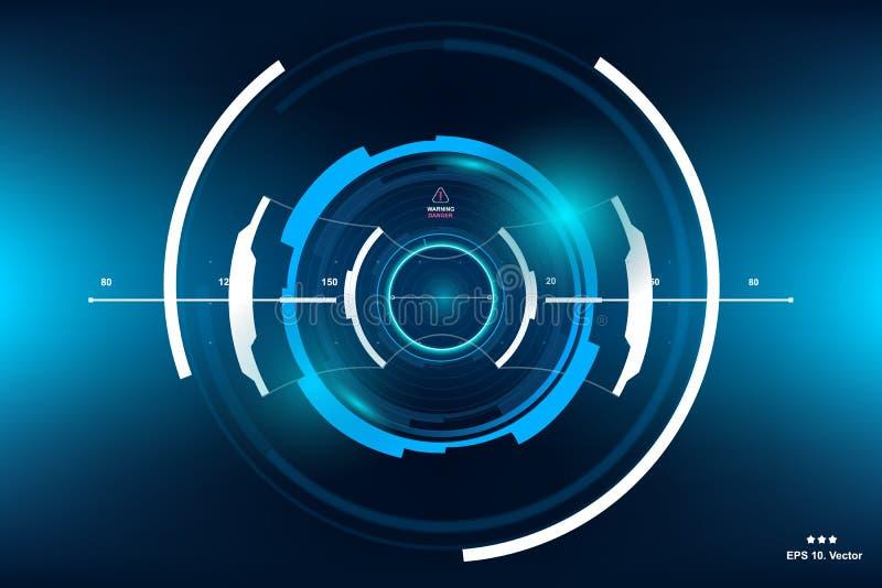 fantastyka naukowa HUD deski rozdzielczej Futurystyczny pokaz Vitrual rzeczywistości technologii ekran royalty ilustracja