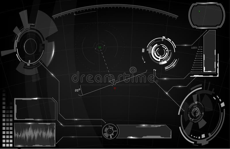 fantastyka naukowa HUD Futurystyczny Rozjarzony pokaz Vitrual rzeczywistości technologii ekran ilustracja wektor