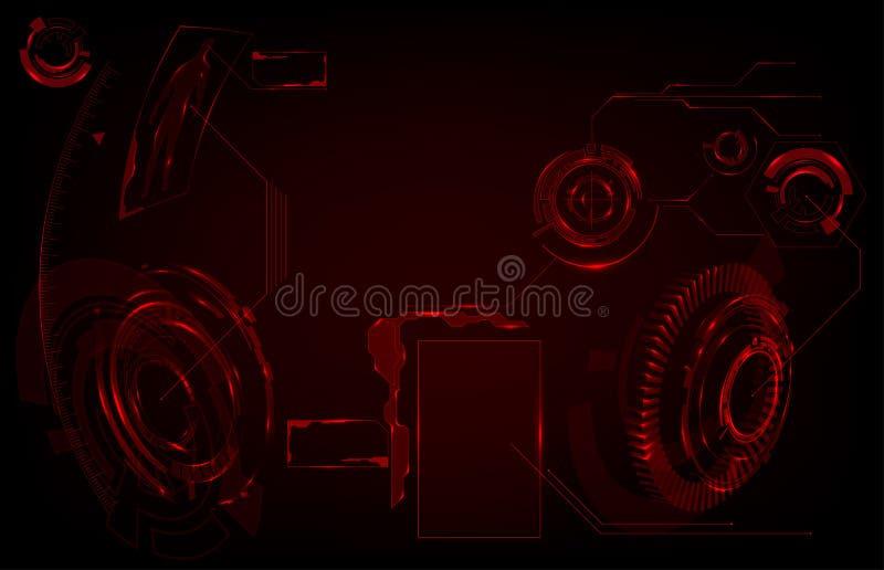 fantastyka naukowa HUD Futurystyczny Rozjarzony pokaz Vitrual rzeczywistości technologii ekran ilustracji