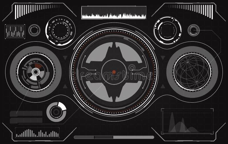 fantastyka naukowa HUD Futurystyczny Rozjarzony pokaz Vitrual rzeczywisto?ci technologii ekran ilustracji