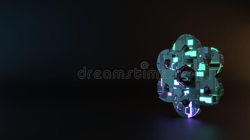 fantastyka naukowa metalu symbol atom ikona odpłaca się obrazy stock