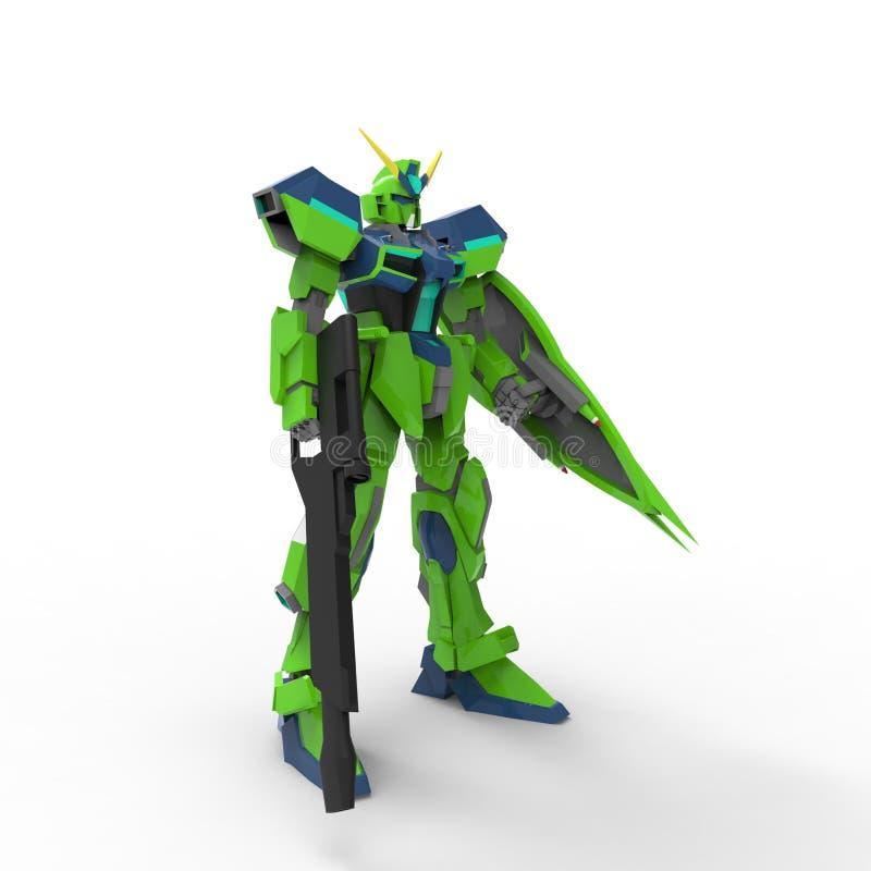 Fantastyka naukowa ?o?nierza mech pozycja na bia?ym tle Militarny futurystyczny robot z zieleni? i szaro?? barwimy metal Mech kon ilustracja wektor