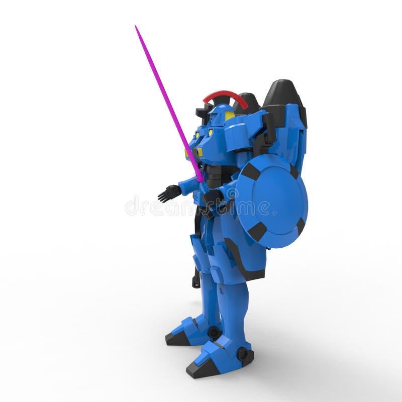 Fantastyka naukowa ?o?nierza mech pozycja na bia?ym tle Militarny futurystyczny robot z zieleni? i szaro?? barwimy metal Mech kon ilustracji