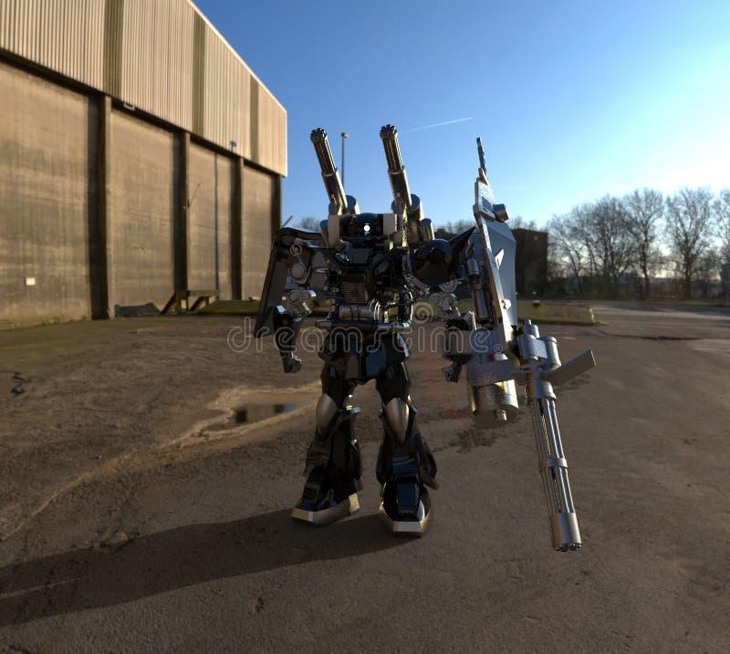 Fantastyka naukowa ?o?nierza mech pozycja na krajobrazowym tle Militarny futurystyczny robot z zieleni? i szaro?? barwimy metal M royalty ilustracja