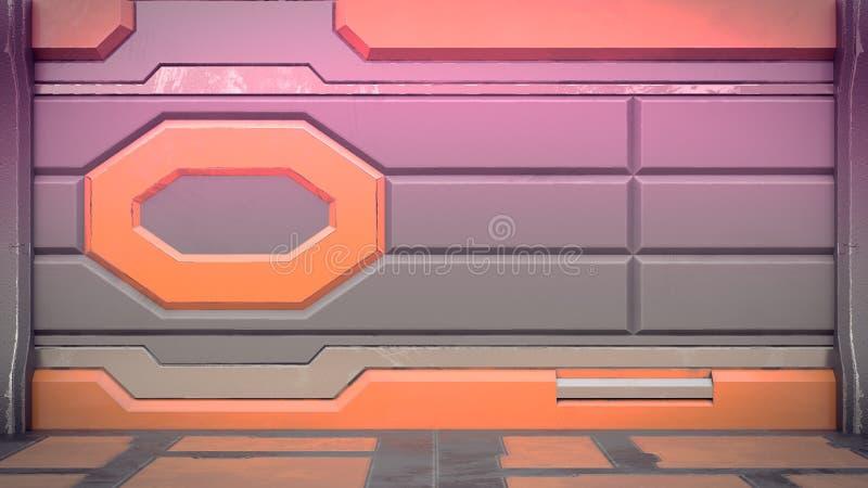 fantastyka naukowa stacji kosmicznej korytarza wewnętrzna 3d ilustracja royalty ilustracja
