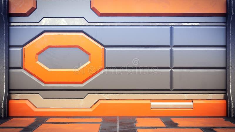 fantastyka naukowa stacji kosmicznej korytarza wnętrze 3d odpłaca się ilustracja wektor