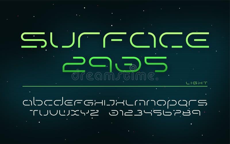 Fantastyka naukowa technologii futurystyczny abecadło, uppercase listy i liczby, ilustracja wektor