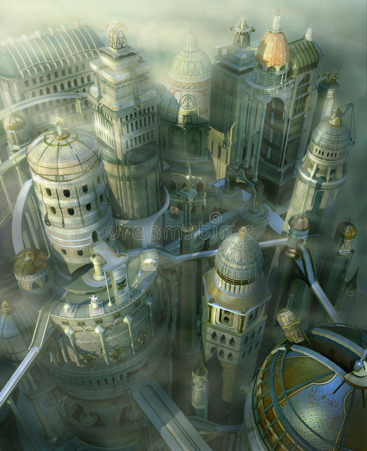 Fantasy 3D city form past to future royalty free illustration