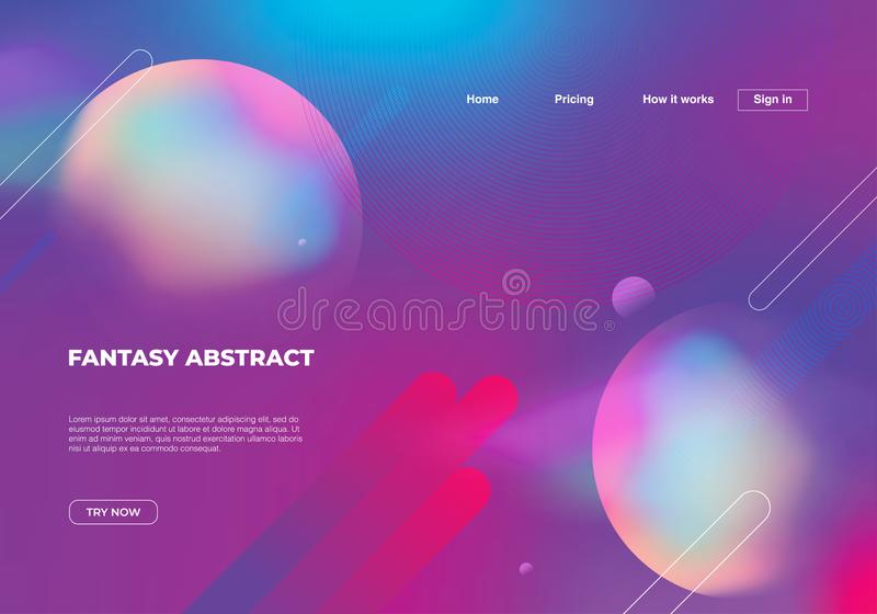Fantasy abstract background with geometric colorful dynamic shapes. . Vector eps 10. Landing page template for web design elements royalty free illustration