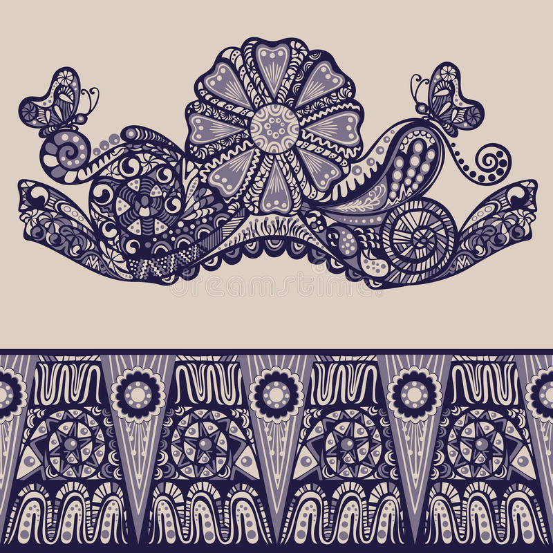 Fantasy abstract ornamental pattern vintage. Fantasy abstract ornamental floral pattern, edge of fabric in vintage style royalty free illustration