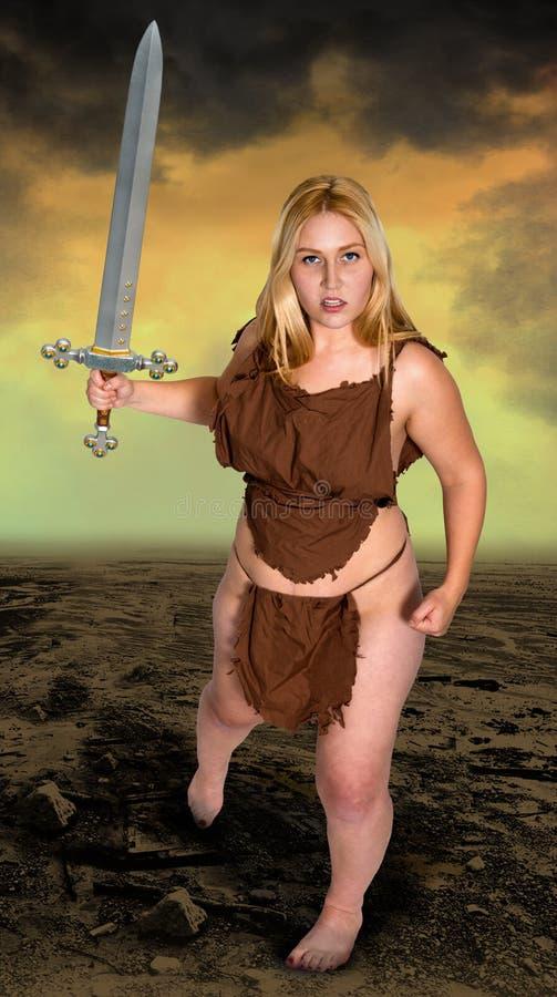 Fantasy Action Woman Battle Sword stock photos