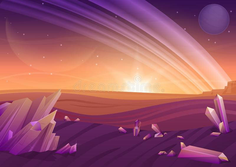 Fantasy alien landscape, another planet nature with rocks in fiels and planets in sky. Game design vector galaxy space royalty free illustration