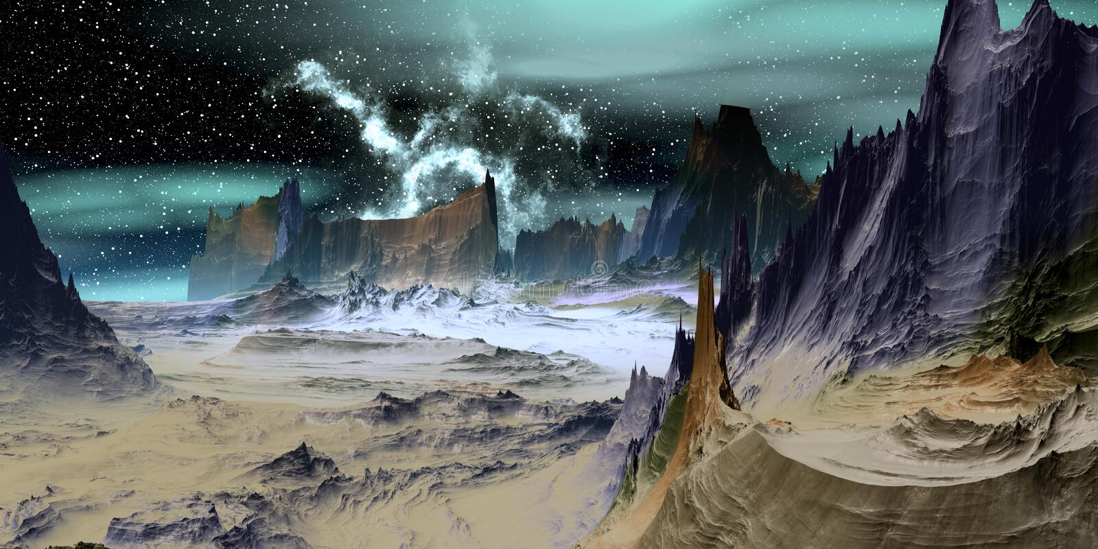 Alien Planet. Mountain. 3D rendering stock illustration