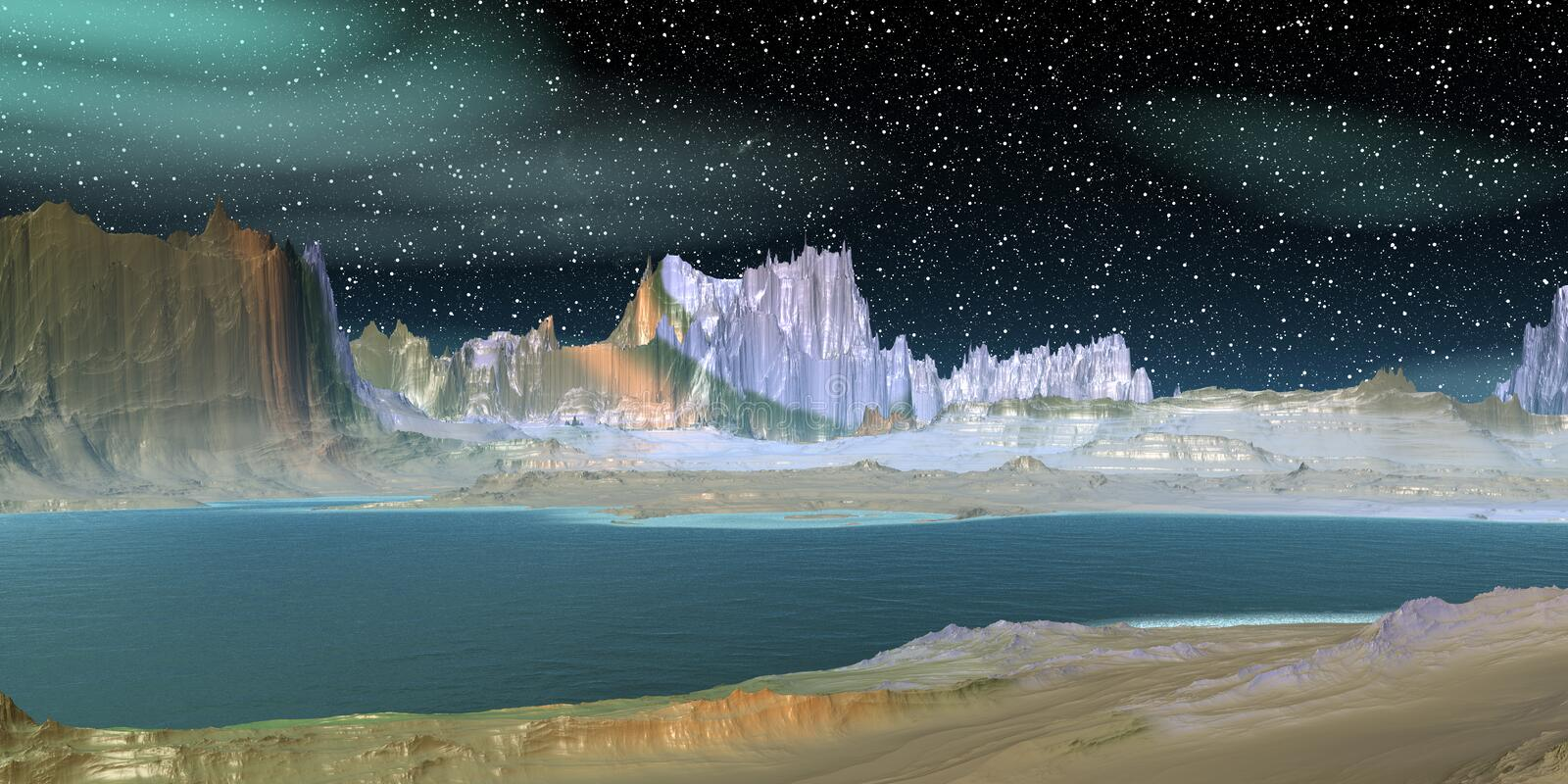 Alien Planet. Mountain and lake. 3D rendering stock illustration