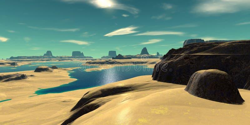 Alien Planet. Mountain and lake. 3D rendering stock illustration