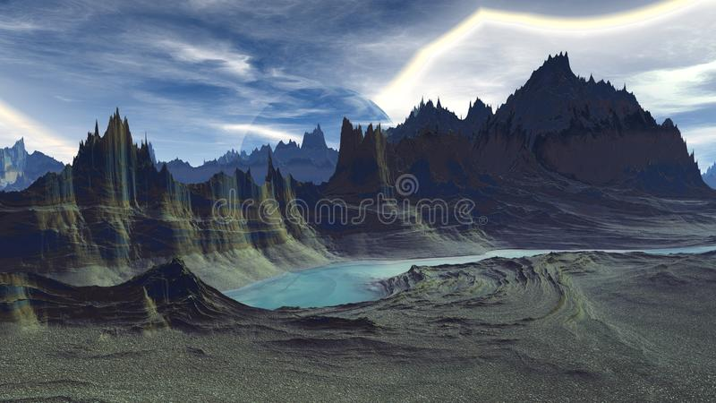 Alien Planet. Mountain and water. 3D rendering royalty free illustration