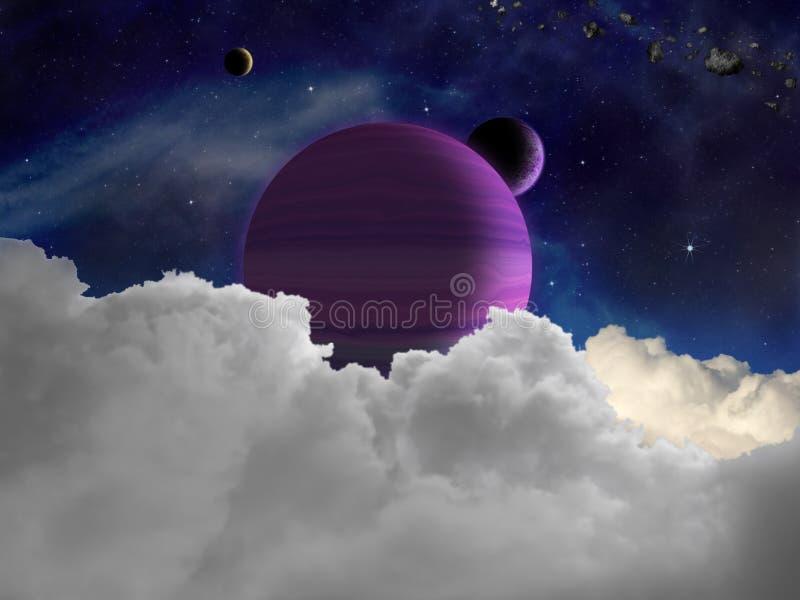 Fantasy alien space scene with alien planets stock illustration