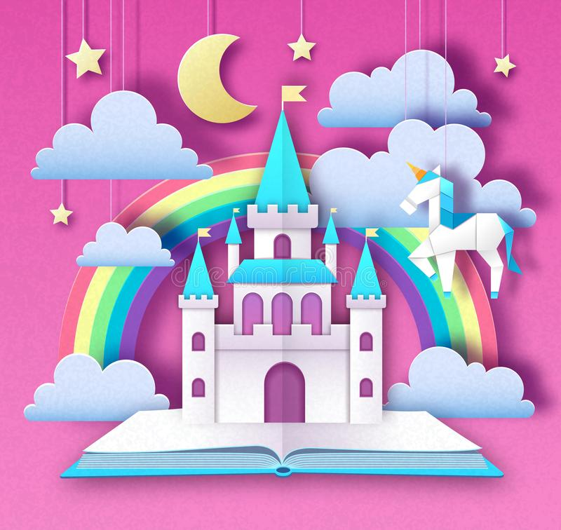 Fantasy animal horse unicorn with rainbow. Cut out paper art style design. Origami vector illustration