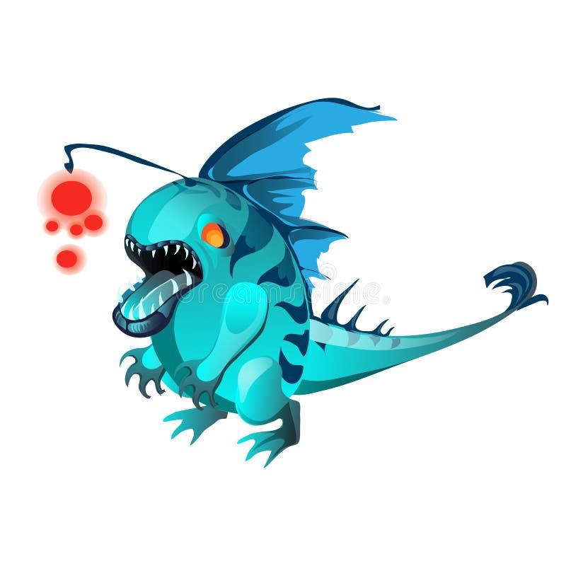 Fantasy animal turquoise color isolated on white background. Vector cartoon close-up illustration. stock illustration