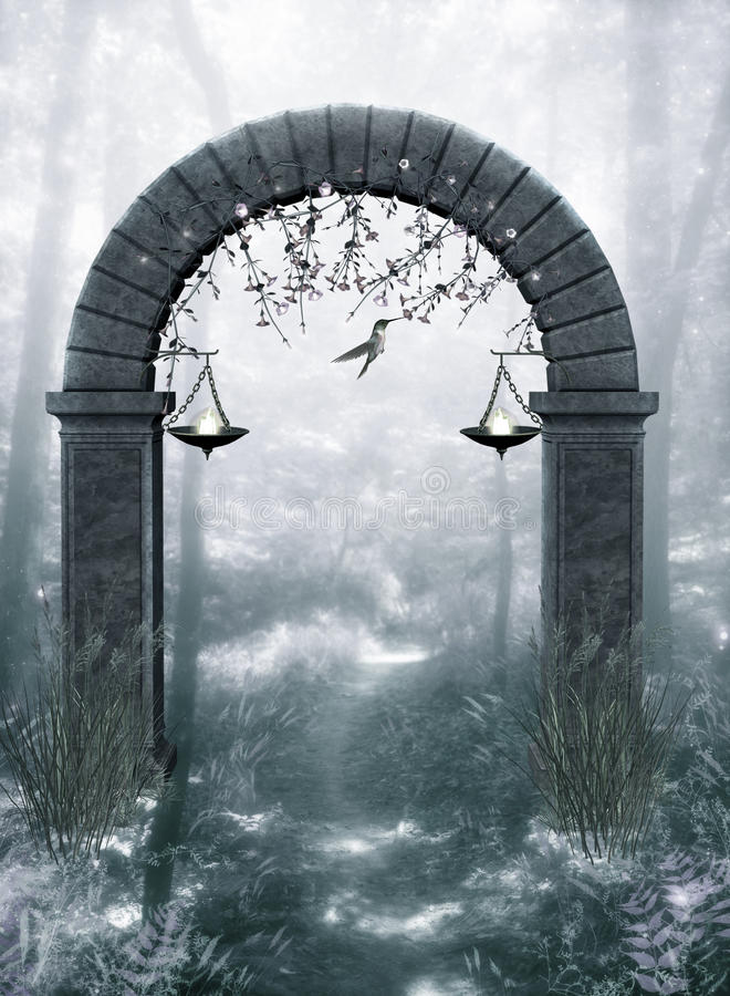 Free Fantasy Arch With Hummingbird Stock Photography - 12181882