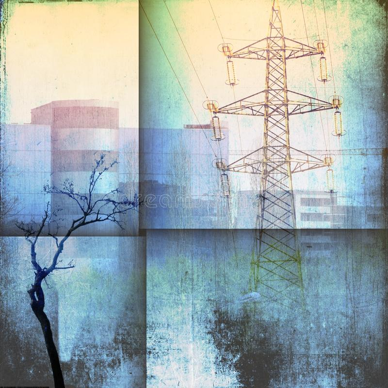 Fantasy architecture skyline with building, pylon and bare trees in blue tones. stock images