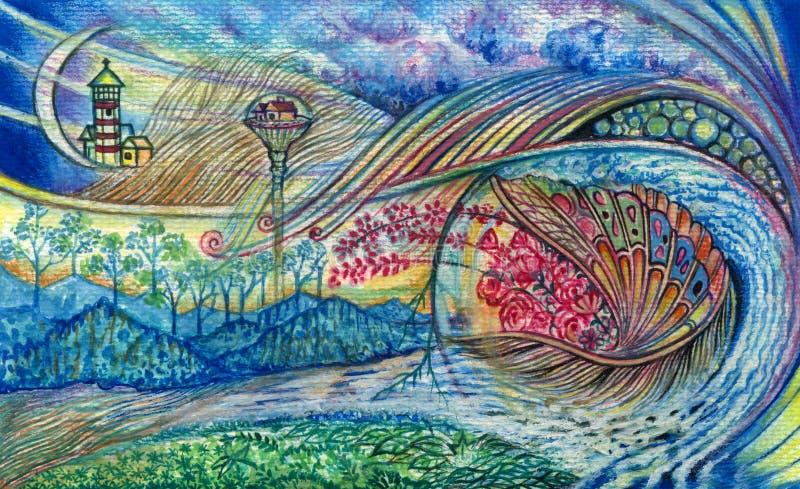 Fantasy Art. Art design surreal fantasy hand water color painting on paper vector illustration