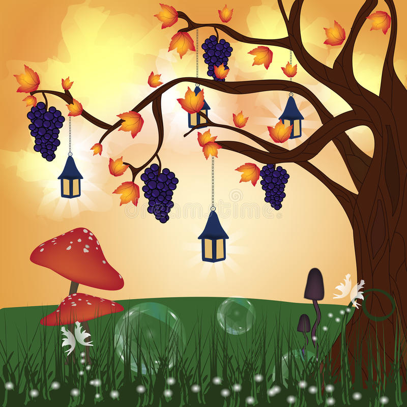 Fantasy autumn hill vector illustration