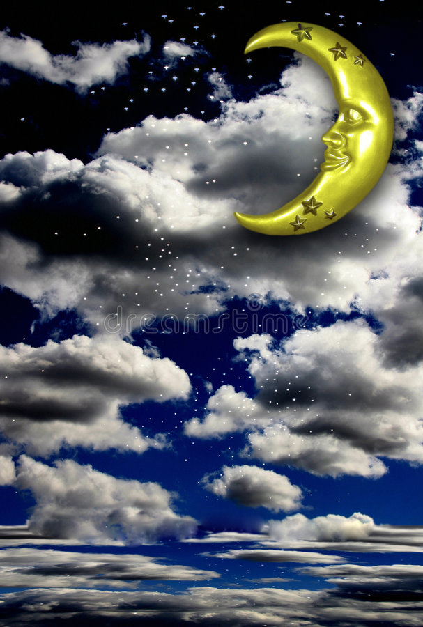 Fantasy Background With Floor. Crescent Moon Fantasy Background Backdrop With Floor