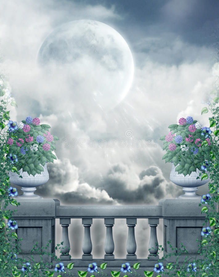 Fantasy balcony with flowers. And the moon vector illustration