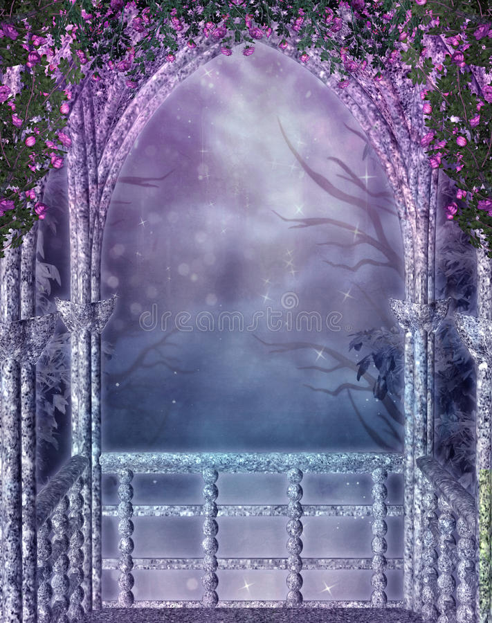 Fantasy balcony with rose vines stock images