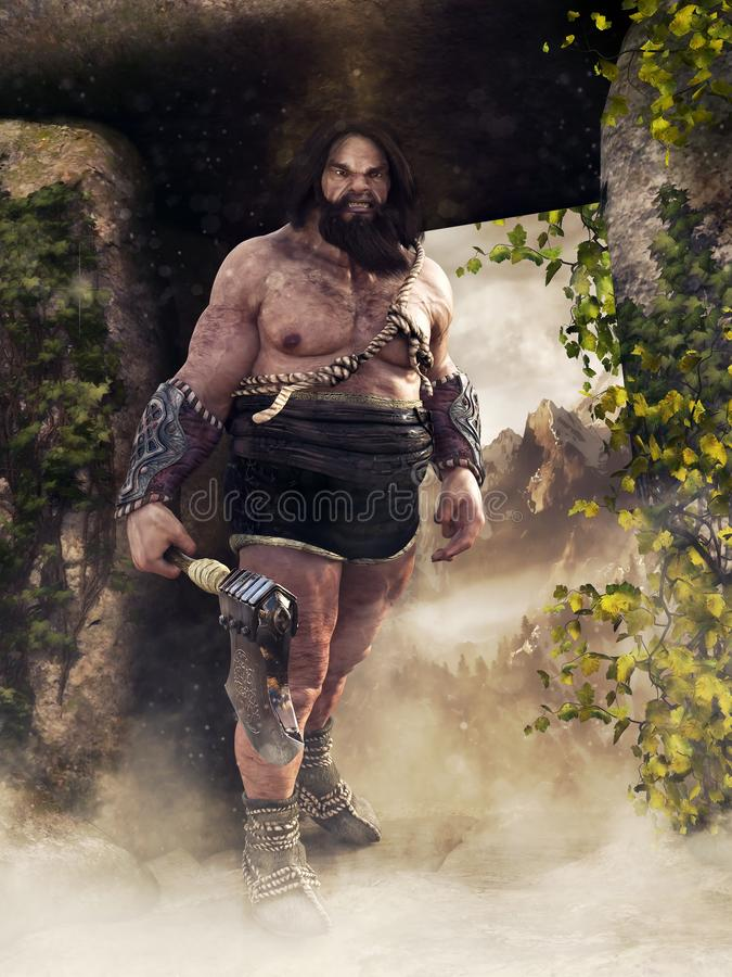 Fantasy barbarian with an axe royalty free illustration