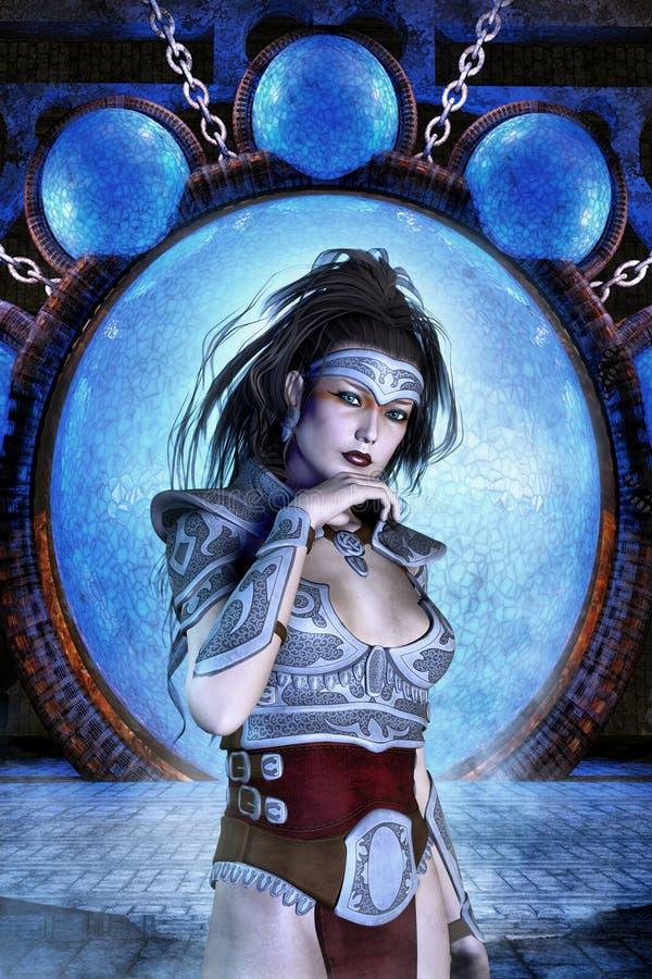 Fantasy barbarian girl royalty free illustration