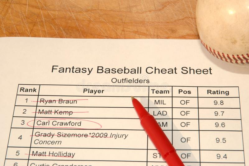 Download Fantasy Baseball Draft Cheat Sheet Stock Image - Image: 16622669
